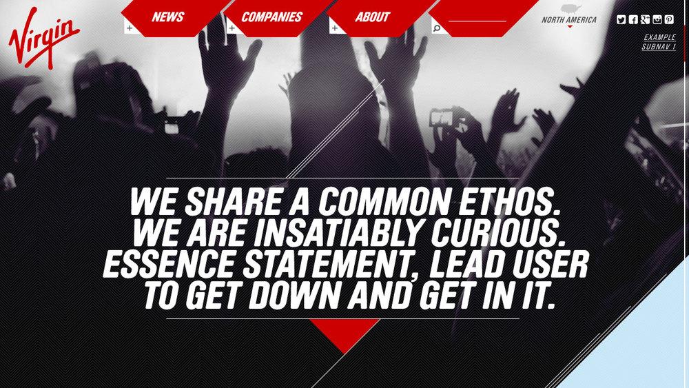 Virgin // Cross Brand Site Concept // Home