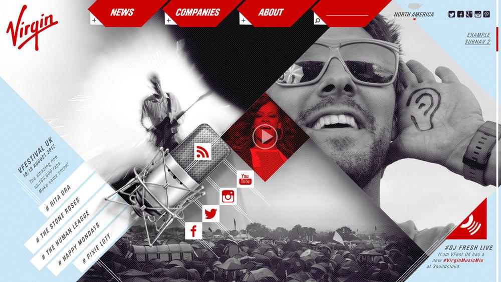 Virgin // Cross Brand Site Concept // Music
