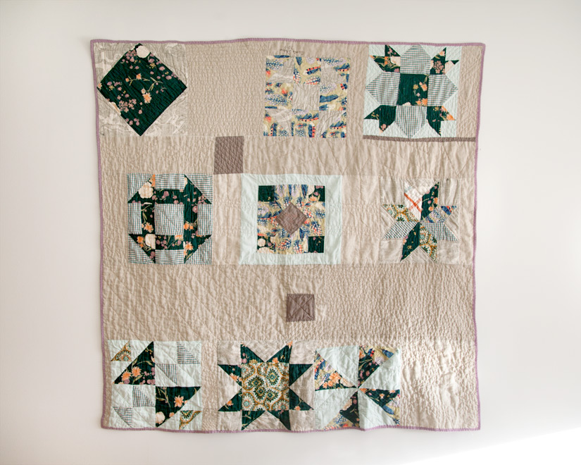 Anna + Eli's Wedding Quilt, machine pieced and hand quilted. 2012