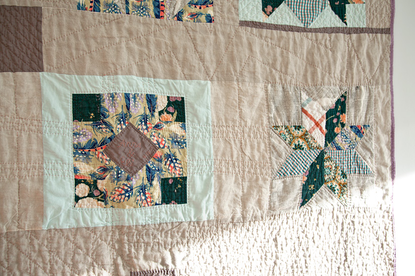 Anna + Eli's Wedding Quilt  (detail), machine pieced and hand quilted. 2012