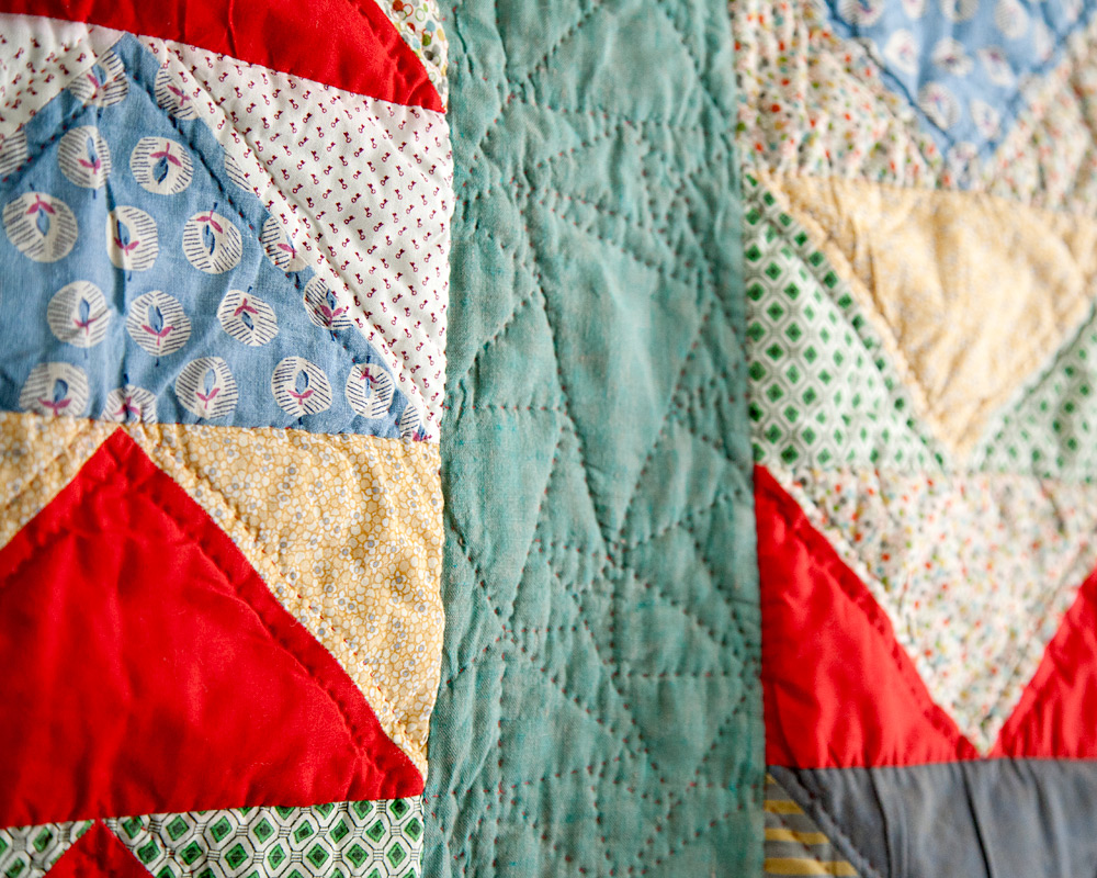 Little Goose (detail), machine pieced and hand quilted. 2013