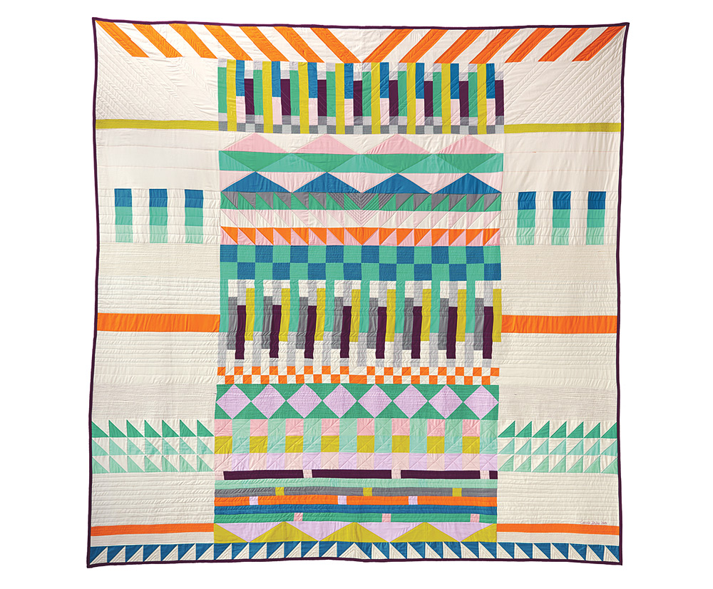 Dear Gunta, machine pieced and quilted. 2014 (Photograph curtesy Robert Kaufman Fabrics) Commissioned by Robert Kaufman Fabrics in celebration of Kona Cotton's 30th Anniversary. Free pattern available on robertkaufman.com.
