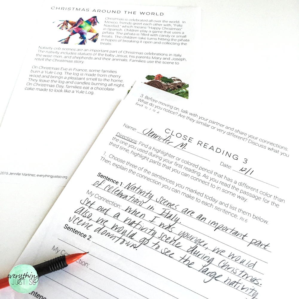 Christmas A Mini unit | everythingjustso.org | Part of a larger unit on winter holidays. Includes original passages, close reading practices, writing responses, and more8.jpg
