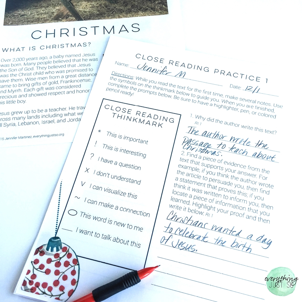 Christmas A Mini unit | everythingjustso.org | Part of a larger unit on winter holidays. Includes original passages, close reading practices, writing responses, answer keys, and more.jpg