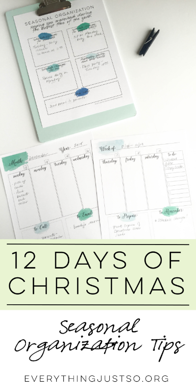Seasonal Organization | everythingjustso.org | FREE printable tools to keep you and your classroom organized this holiday season. Includes watercolor calendar pages, schedule change planner, and gift tracker.