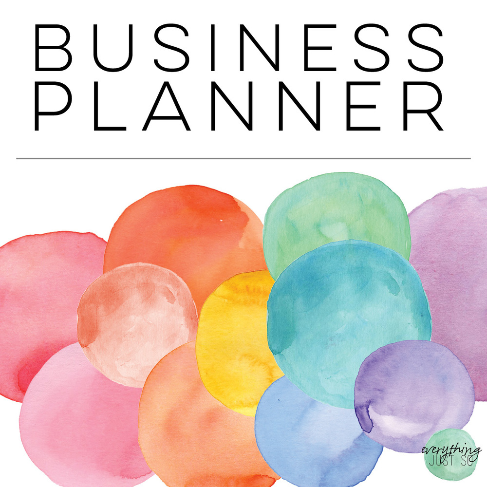 Rainbow Watercolor Business Planner | everythingjustso.org | Are you a TPT seller or small business owner looking for the perfect planner to keep you and your business organized? This resource contains all of the pages I use on a daily and weekly business to plan my week, blog posts, products, and more. Over 280 pages tested and edited until they were just so!