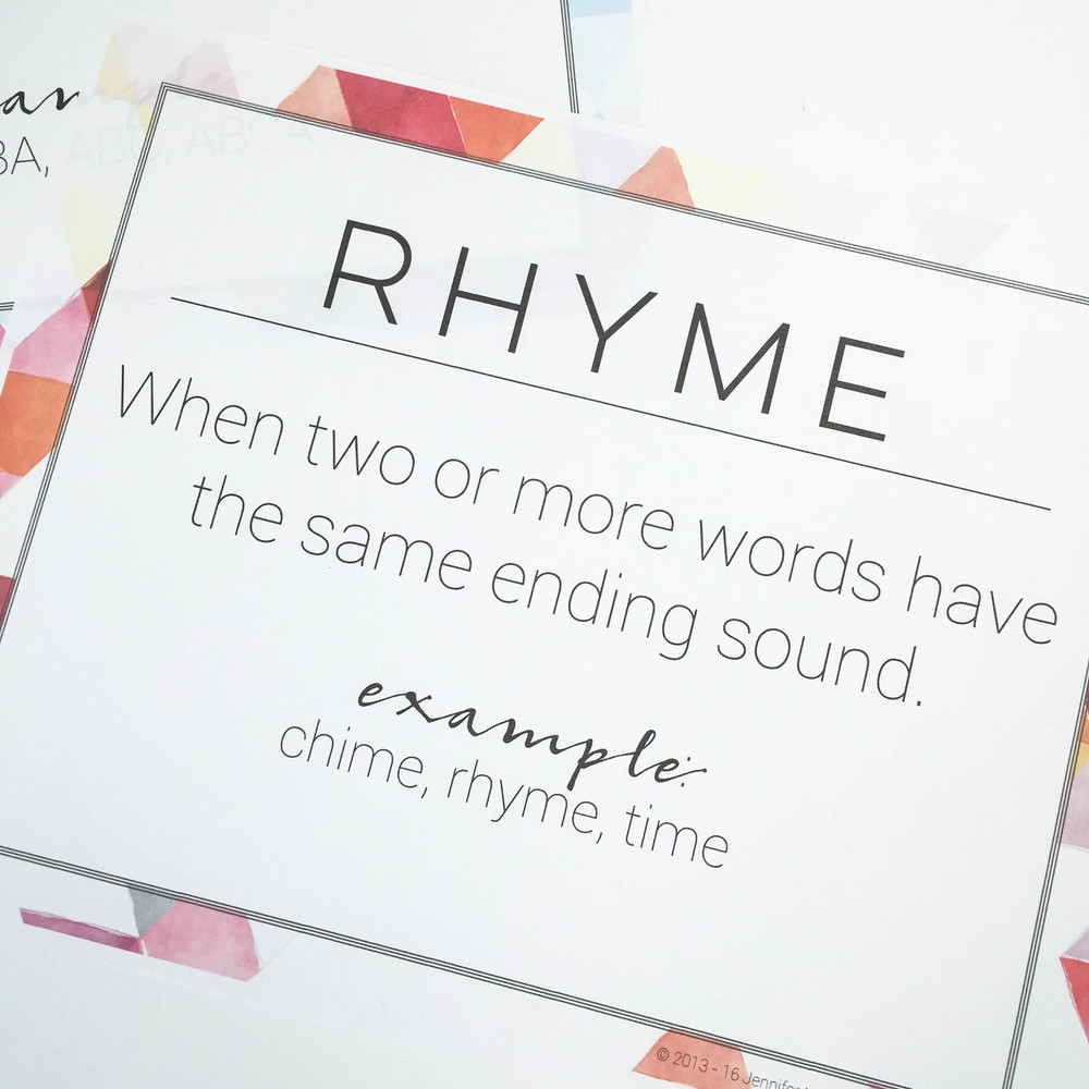 Poetry and Figurative Language Posters | everythingjustso.org | This FREE resource coordinates with the terms taught in my Poetry and Figurative Language MiniUnit.