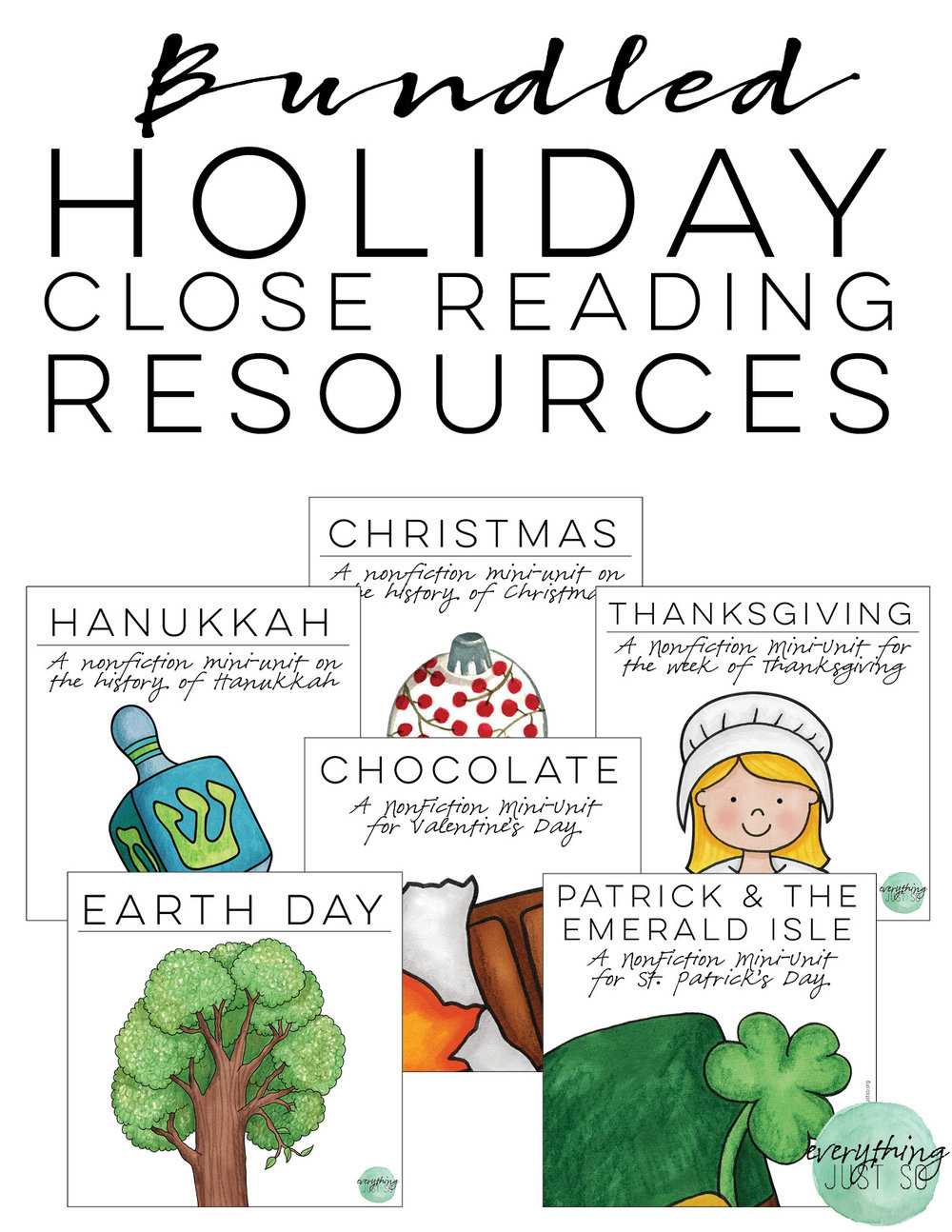 Holiday Close Reading Resources Bundle | shopeverythingjustso.org
