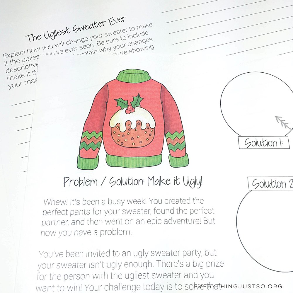 Ugly Christmas Sweater Writing Unit | everythingjustso.org