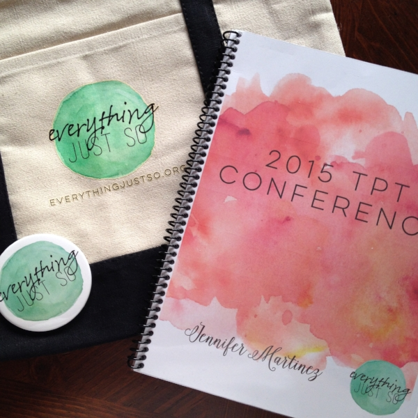 Promotional items featuring my brand's logo and my conference planner with schedule and session notes.