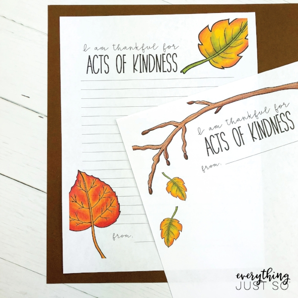 One Simple Exercise for Teaching Students to be Thankful | November and the holiday of Thanksgiving provide the perfect opportunity for sneaking in lessons about thankfulness. This simple exercise will kickstart a process that you can repeat all year long. Post includes free printable | everythingjustso.org