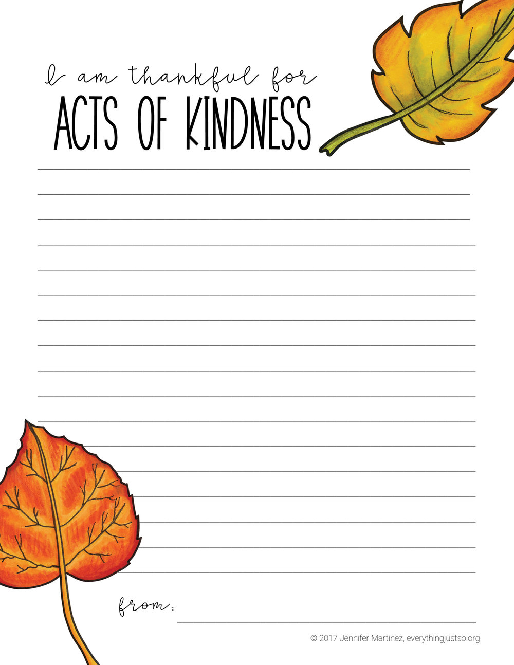 Thankful for Kindness Writing