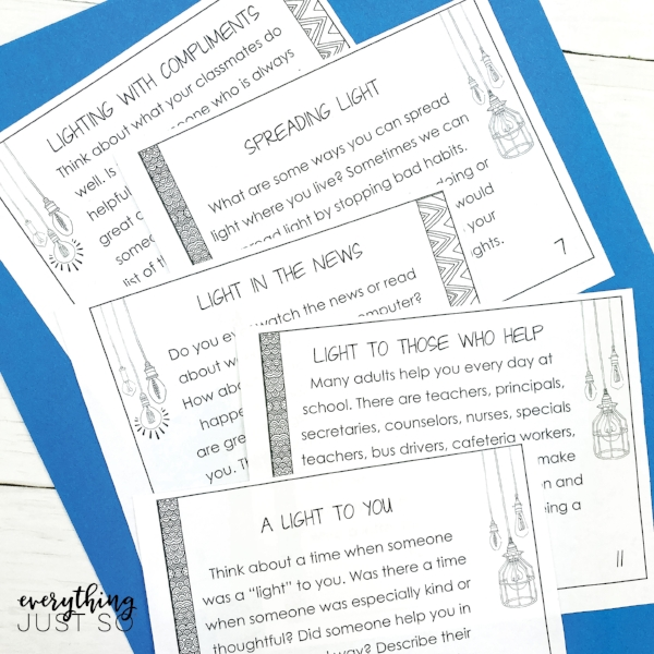 Holiday Lights Task Cards | Task cards for promoting positivity during the holidays. A free resource. | everythingjustso.org