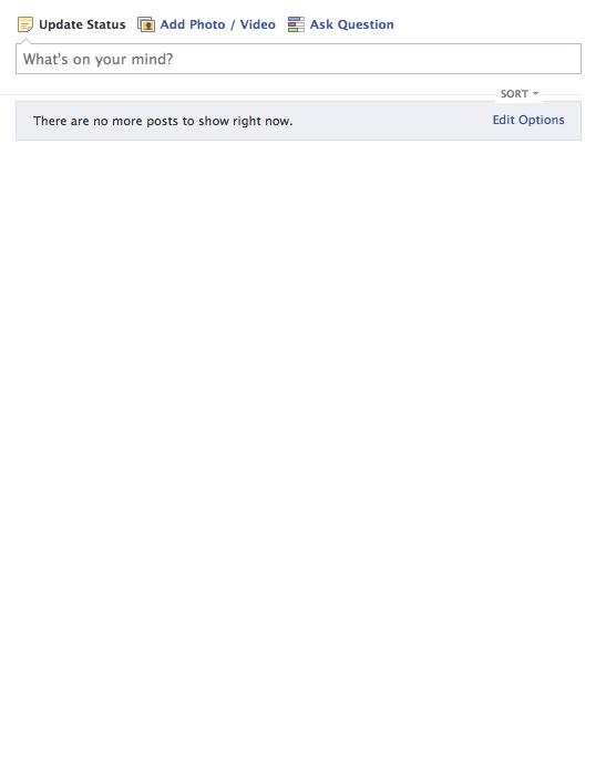 Empty Facebook Newsfeed