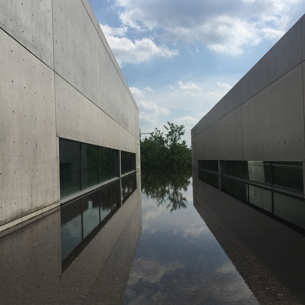 Here's a view from a small sitting area outside. The Pulitzer offices are to the left and some of the museum space is to the right. That's water you're looking at.