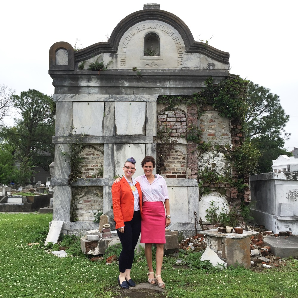That's Arian and I above, in front of a very old, Katrina-damaged mausoleum in New Orleans. Isn't it nice to see the faces behind the voices you hear? Arian is the interviewer you'll hear in the podcast.