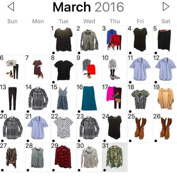 This is what a month of what I wore looks like. When you tap each day, it shows you the rest of what you wore.