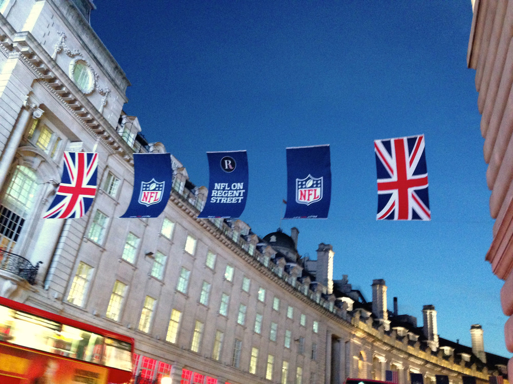 NFL banners hanging across Regents Street, Picadilly