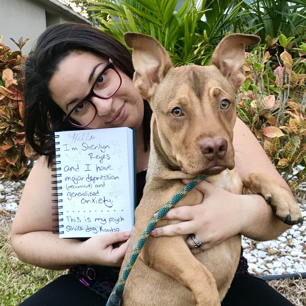 Sign: Hello. I'm Sherilyn Reyes and I have major depression (recurrent) and generalized anxiety. This is my psych service dog Kaytoo.  Image description: A brown haired woman wearing glasses holding a notebook and a light brown dog.