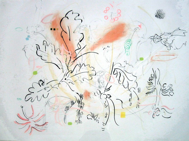 "High Tea with Seeds, 34x44"", ink, goauche, conte drawing,  2006"