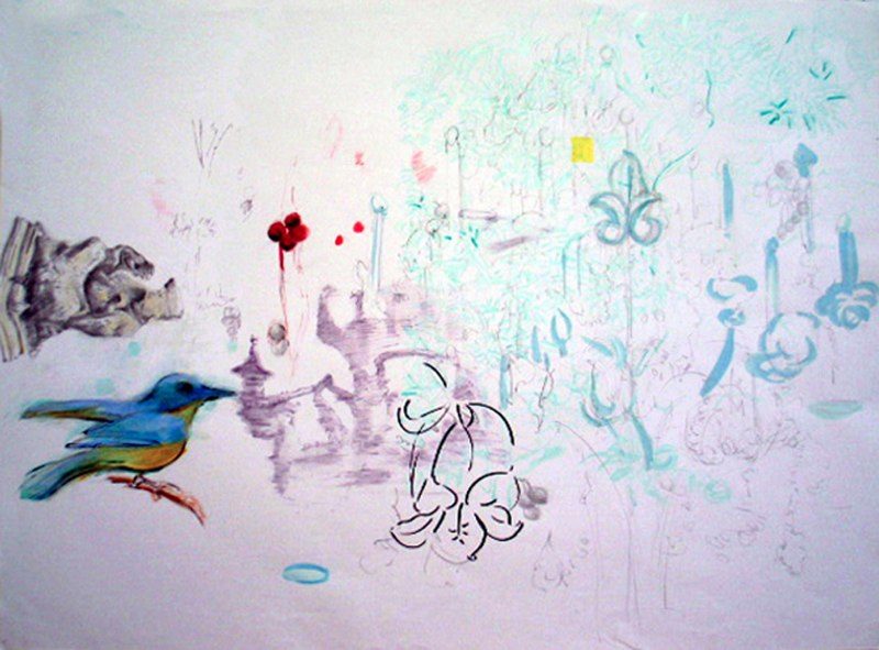 "High Tea IV with Cherry,  sumi ink, graphite and pastel on paper,  34x47"",  2005."