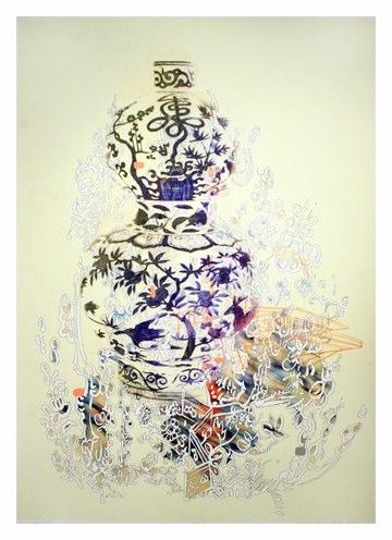 """Script , pigment print with gouache, 47x34"""", 2011."""