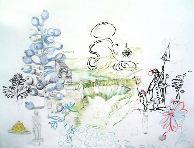 "Drawing with a Dam, ink, gouache and conte on paper, 34 x 47"", 2008. Courtesy of JRB at the Elms, Private Collection, OKC."