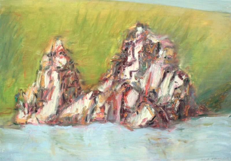 Stone Mount Pactola Lake, Black Hills, Oil on paper, 22 x 30 inches, 2009.