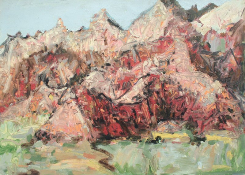 Badlands, August 2010, oil on paper wallpaper, 22 x 30 inches, 2010.
