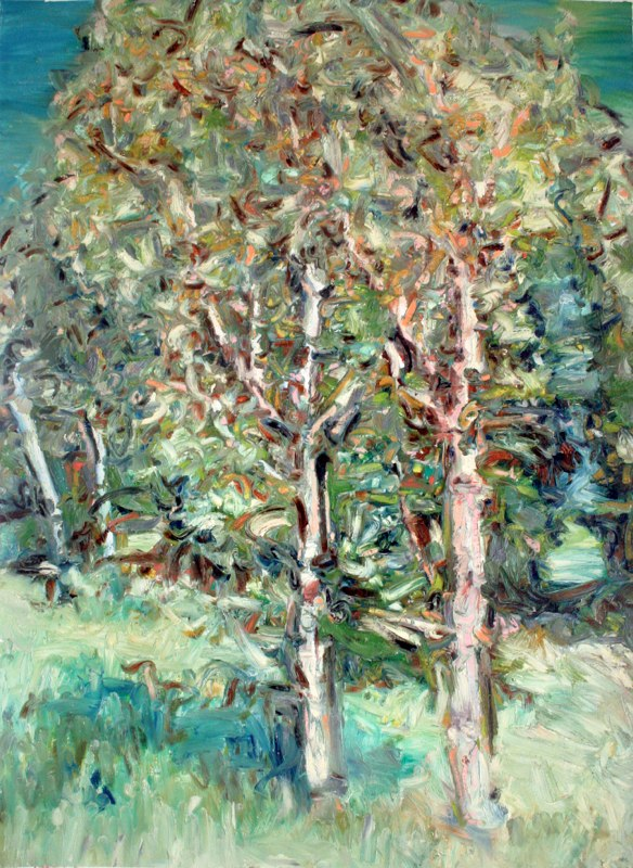 Nemo Trees , oil on wallpaper. 30 x 22 inches, 2010. Private collection.