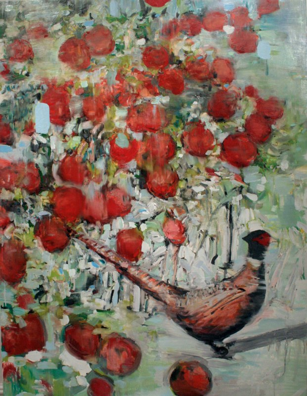 Apple Tree Pheasant, oil on canvas, 48x36 inches, 2011. Private Collection.