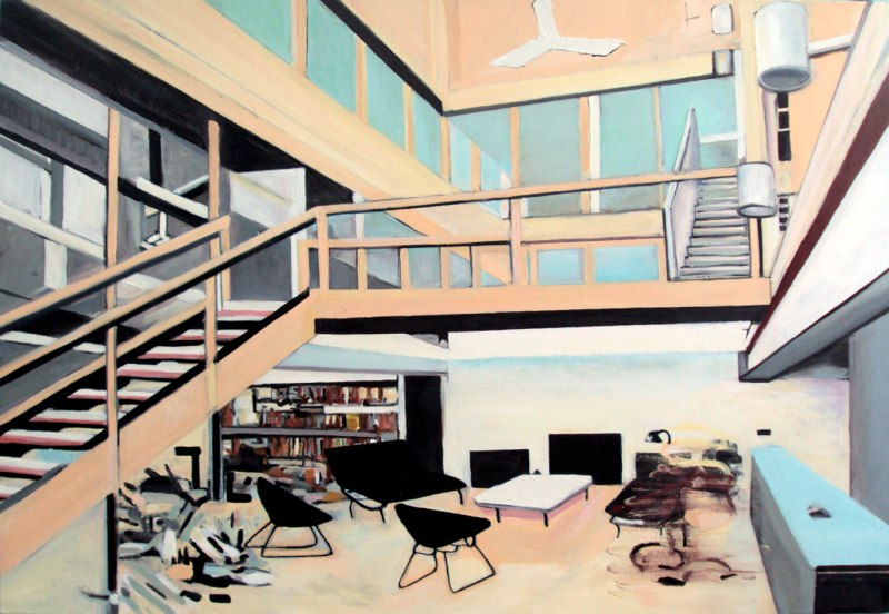 "Interior Neutra, oil on canvas, 48x60"", 2009-11."