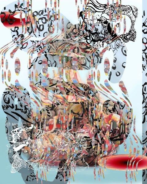 "Emperor Smoke, 3D lenticular Print on SIntra, 24x24"", 2010."