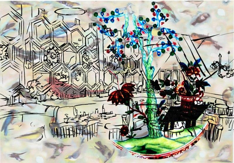 "Cafeteria , silver digital print, 14.5x21"",  2006."