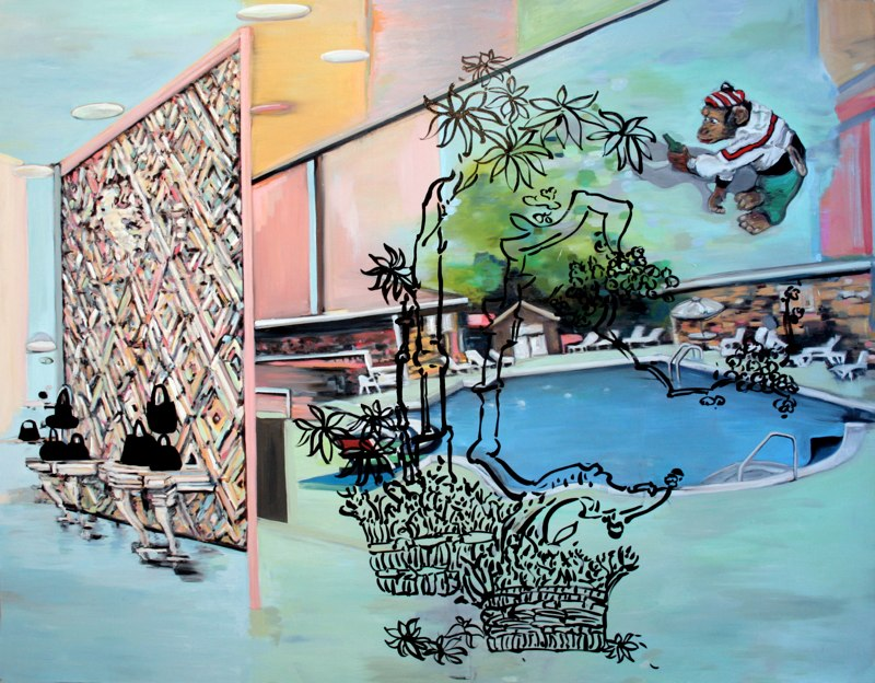 "Purses and a Pool , oil on canvas , 67x84"" , 2006."