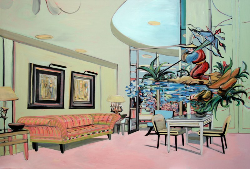 "Pink Boutique , oil on canvas,  47.5x70"",  2006. Private Collection."