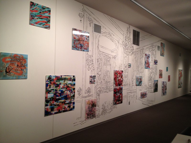 """The Boucher Room, 144x480"""", Sumi ink drawing on wall and 3D lenticular prints, Washington Pavilion of the Arts, Sioux Falls, SD, 2012."""