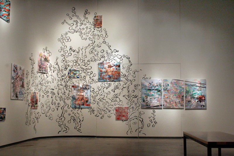 The Grand Study , dimensions vary, Sumi ink drawing on wall with 3D lenticular print instillation, The Movable Salon and Other Frontiers exhibition, The Dahl Arts Center, 2011.