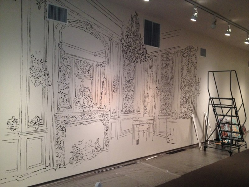 "The Boucher Room , 144x480"", Sumi ink drawing on the wall, Washington Pavilion of the Arts, Sioux Falls, SD,  2012."