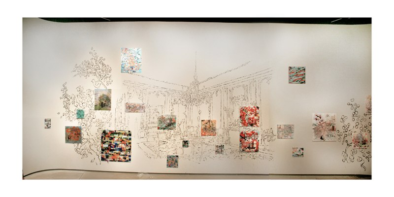 The Grand Study , 14x54', Sumi ink drawing on wall with 3D lenticular print instillation, The Movable Salon and Other Frontiers exhibition, The Dahl Arts Center, 2011.