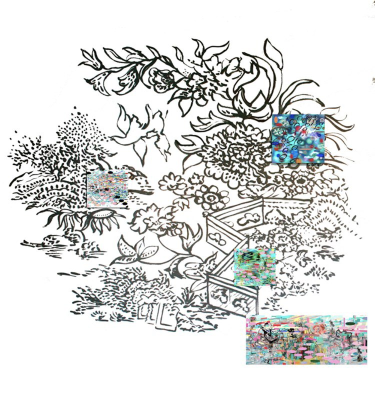 "Garden Sumi , 96x96"", Sumi ink drawing on the wall with lenticular prints, 2008."