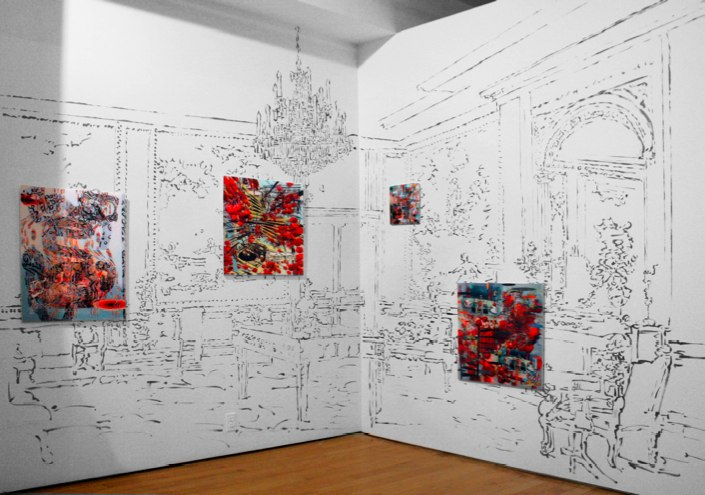 "The Fraganard Room , 120x 288"", Sumi ink drawing on wall with lenticular prints, Symbiotaxiplasm Exhibition, SS Projects, NY, 2013"