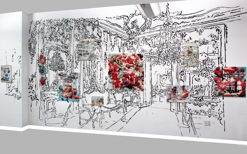 The Schonbrun Palace , 110x 340, Sumi ink drawing on wall with lenticular prints, 2014.