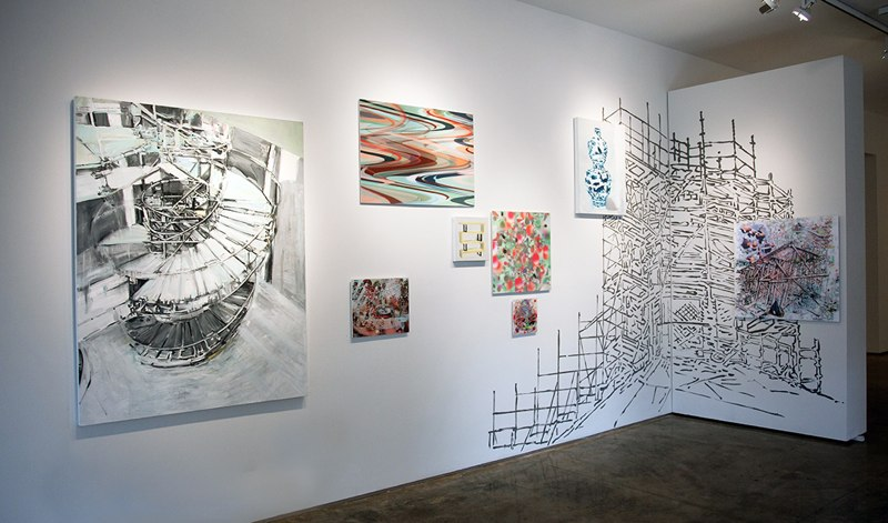 Instillation view with paintings, 3D lenticular prints and  Duomo Tower with Scaffolding  (ink drawing on the wall with lenticular prints), Re-Material Exhibition, Second Street Gallery, Charlottesville, VA 2014.