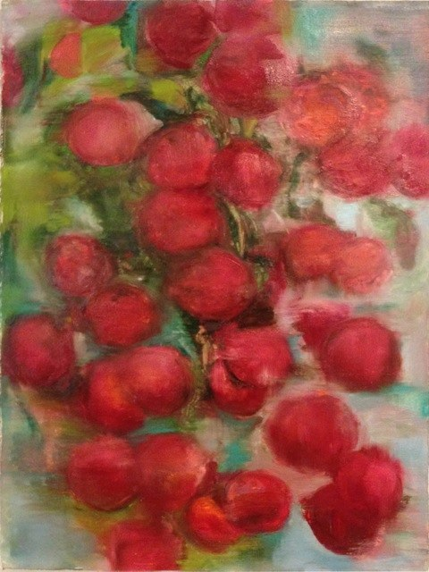 "Cherry Peach I , oil on paper, 22x30"", 2015. Private collection."