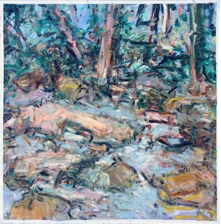 "Bear Creek NY, JuneII , oil on paper,  24x22"",  2015."