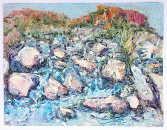 "Rio Taos Canyon,  oil on paper, 20x28"", 2014."