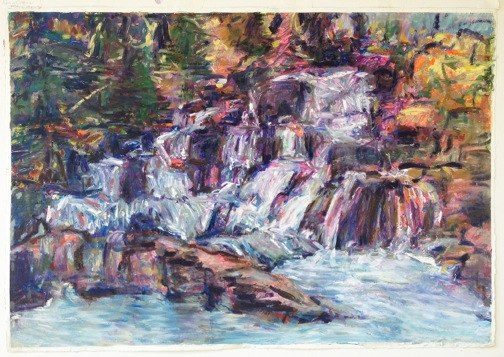 "Rapid Creek Falls at Mystic , oil on paper, 30x40"", 2013. Private collection."