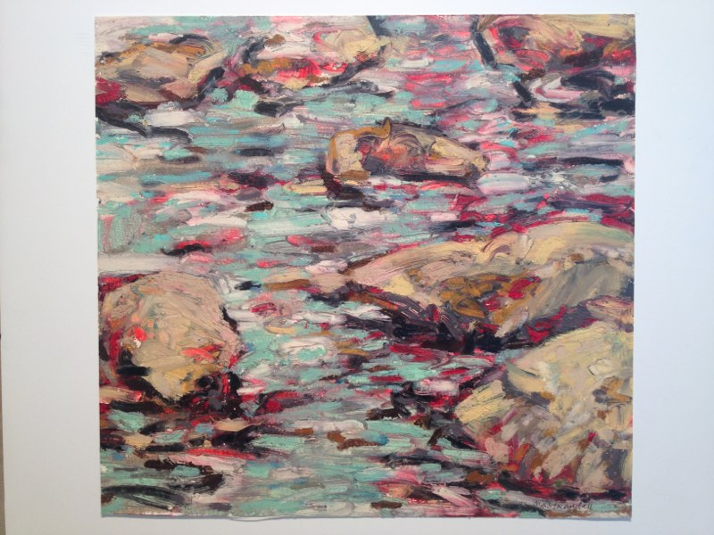 "Rock Water Study , oil on paper,  12x16"",  2009."