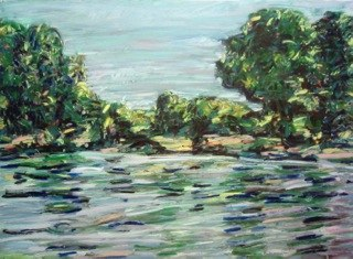 "Missouri River, Parkville, MO , oil on paper, 30x40"", 2011. Private collection."